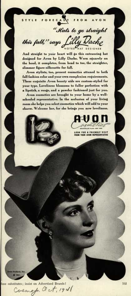 "Avon – ""Hats to go straight this fall,"" says Lilly Dache (1941)"