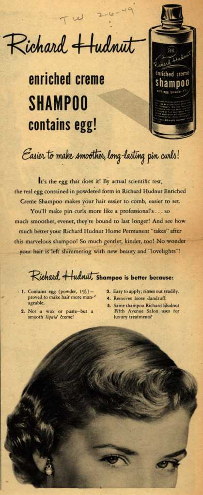 Richard Hudnut – Richard Hudnut enriched creme Shampoo contains egg (1949)