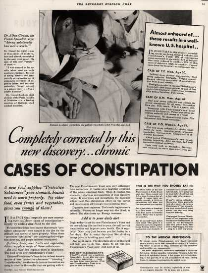 Standard Brand's Fleischmann's XR Yeast – Completely corrected by this new discovery... chronic cases of constipation (1935)