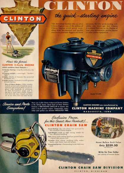 Clinton Chain Saw Lawnmower Engine Ad T (1953)
