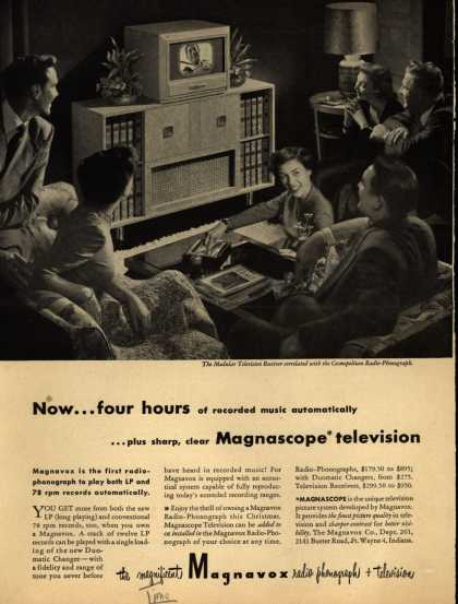 Magnavox Company's Radio phonograph television – Now... four hours of recorded music automatically... plus sharp, clear Magnascope television (1948)