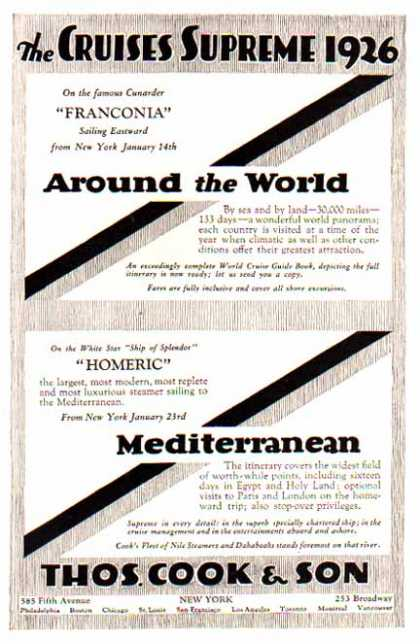 Around the World & Mediterranean Cruise -Franconia & Homeric (1925)