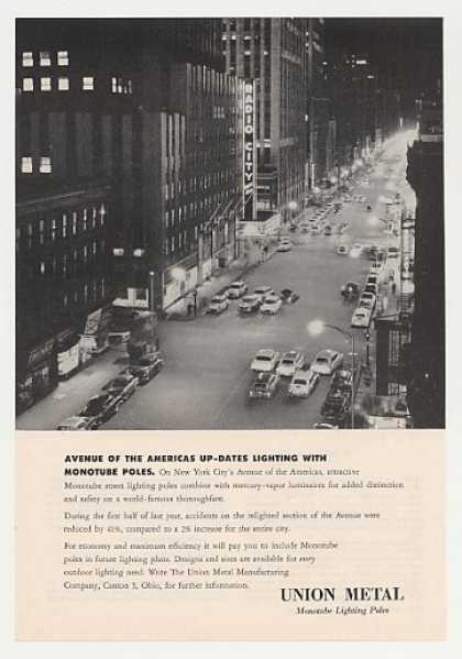 NYC Avenue of the Americas Union Metal Photo (1955)