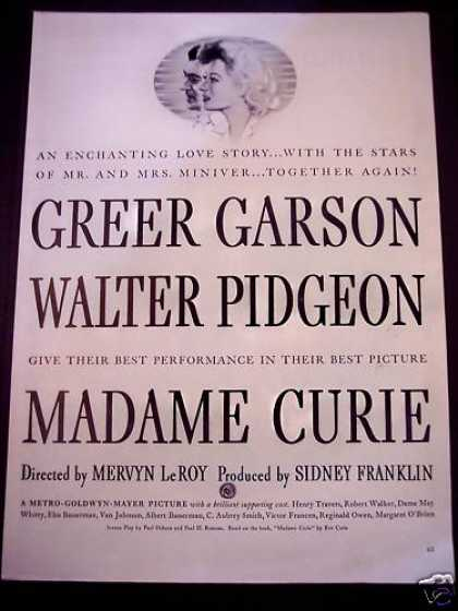 Madame Curie Greer Carson, Walter Pidgeon Movie (1944)