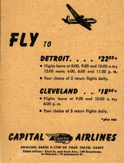 PCA Capital Airline's Detroit and Cleveland – Fly to ... (1947)