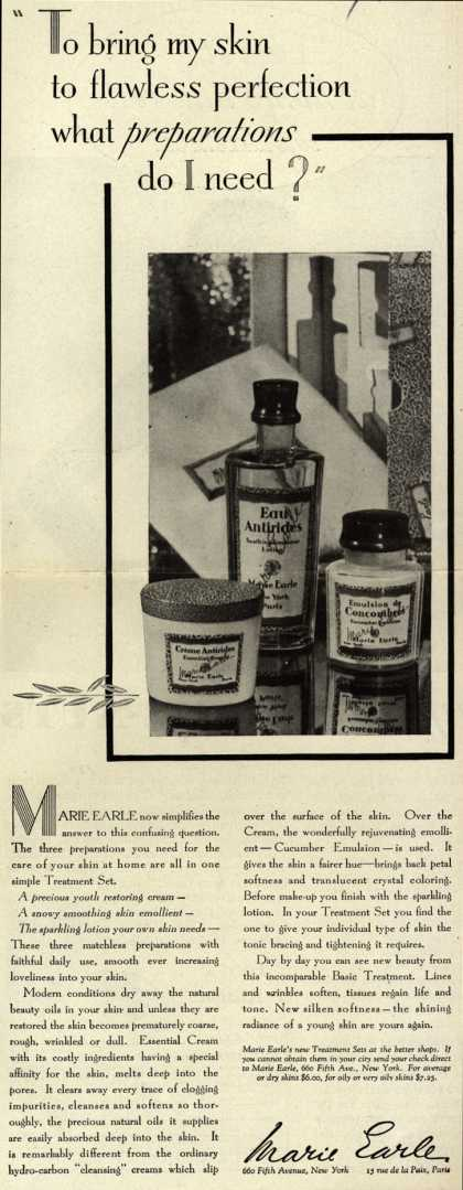 "Marie Earle's Cosmetics – ""To bring my skin to flawless perfection what preparations do I need?"" (1930)"