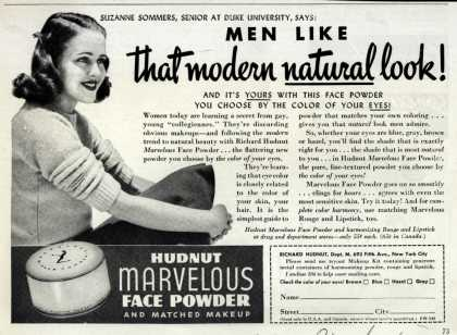 Richard Hudnut's Marvelous Face Powder – Men Like that modern natural look (1940)