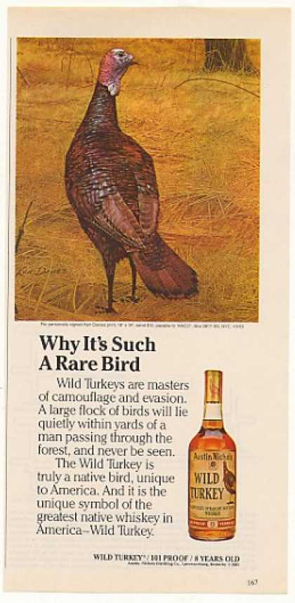 Wild Turkey Whiskey Rare Bird Ken Davies art (1983)