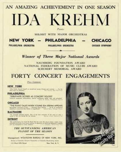 Ida Krehm Photo Piano Rare Concert Booking (1939)