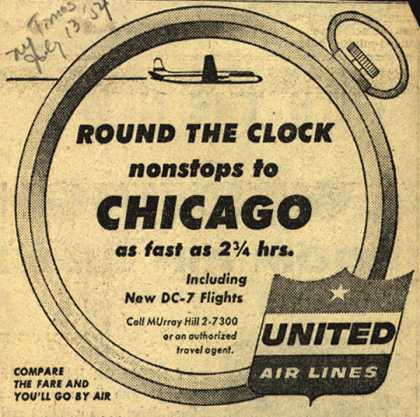 United Air Line's Chicago – Round The Clock nonstops to Chicago (1954)