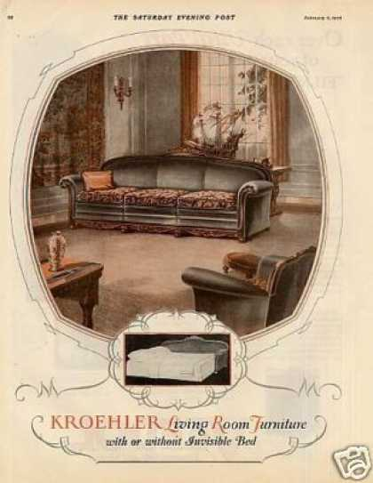 Kroehler Living Room Furniture Color Ad 2 Page (1926)