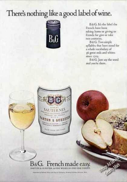 "B&g ""French Made Easy"" Good Label of Wine (1971)"
