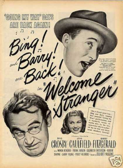 "Movie Ad ""Welcome Stranger"" Bing Crosby (1947)"