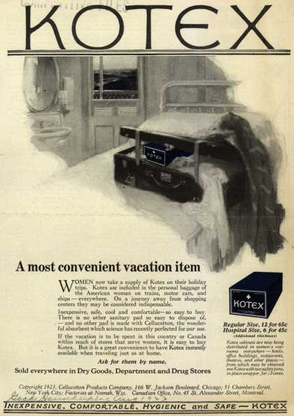 Cellucotton Products Company's Sanitary Napkins – A most convenient vacation item (1923)
