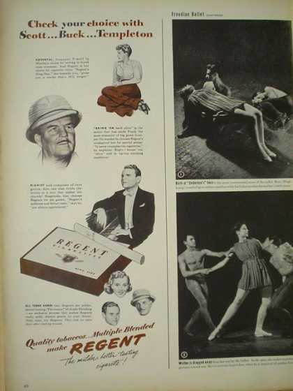 Regent Cigarettes. Check your choice with Scott Buck Templeton (1945)