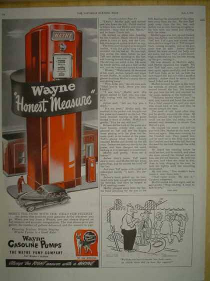Wayne Gasoline Gas pumps. Honest measure. (1945)