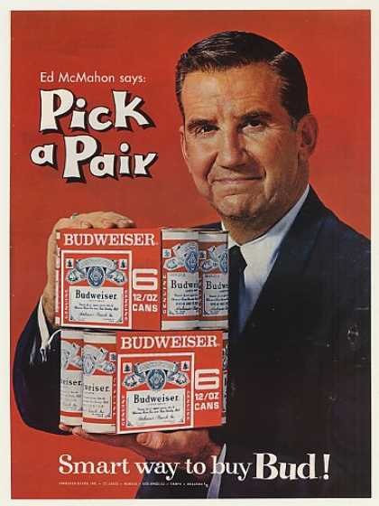 '66 Ed McMahon Bud Budweiser 6-Pack Cans Pick a Pair (1966)