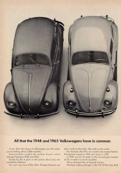 & 1948 Vw Volkswagen Bug Beetle 4 Part Compare (1965)