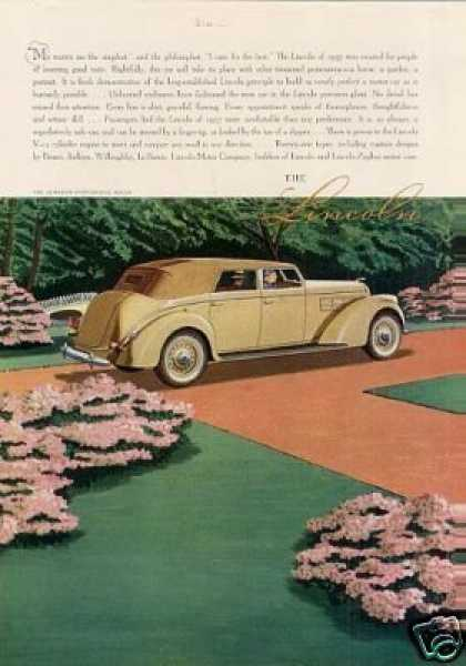 Lincoln Le Baron Convertible Sedan Color (1937)