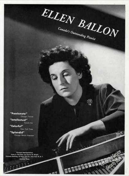 Ellen Ballon Photo Canada's Outstanding Pianist (1944)