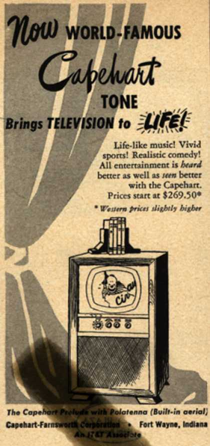 Capehart-Farnsworth Corporation's The Capehart Prelude Television Combination – Now World-Famous Capehart Tone Brings Television to Life (1949)