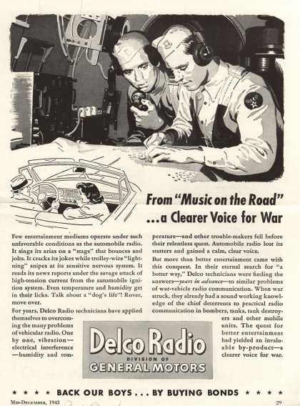 "Delco Radio's Radio – From ""Music on the Road""... a Clearer Voice for War (1943)"