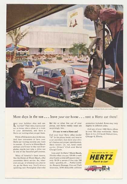 Dunes Miami Beach Chevy Bel Air Hertz Rent Car (1956)