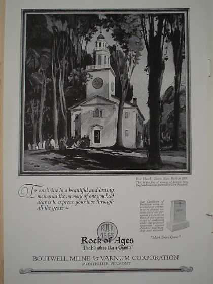 Rock of Ages Boutwell Milne Varnum First Church Lenox Mass Built in 0805 (1926)