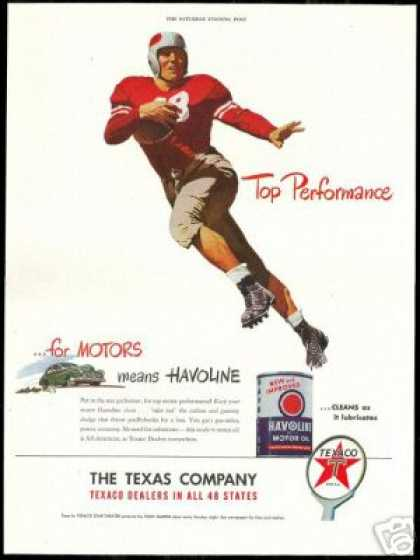 Football Player Art Texaco Havoline Oil (1947)