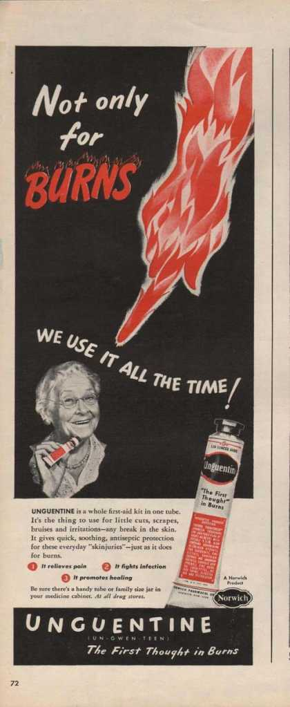 Unguentine for Burns Medicine (1946)