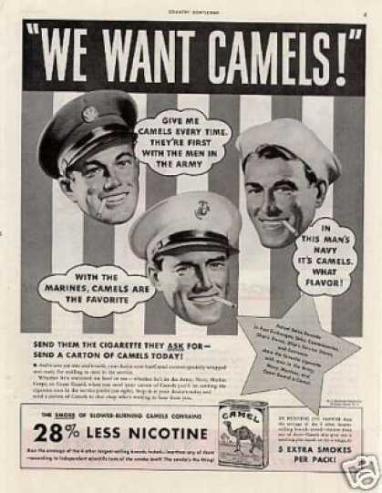 "Camel Cigarettes Ad ""We Want Camels... (1942)"