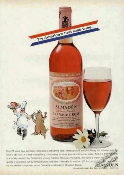 Almaden California Mountain Grenache Rose' Wine (1970)