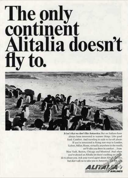 Antartica Penguins Alitalia Doesn't Fly There (1966)