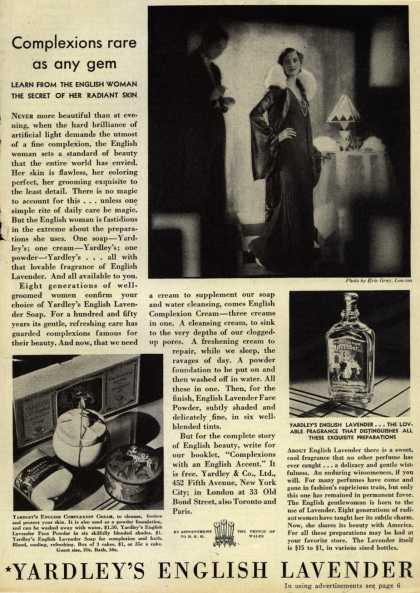 Yardley & Co., Ltd.'s English Lavender Cosmetics – Complexions rare as any gem (1931)