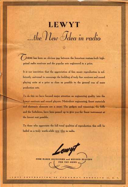 Lewyt Corporation's Radio – Lewyt ... the New Idea in radio (1946)