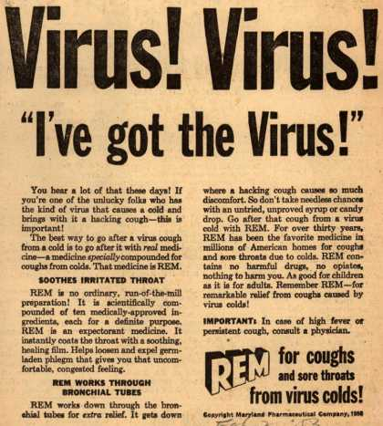 "Maryland Pharmaceutical Company's REM – Virus! Virus! ""I've got the Virus!"" (1953)"