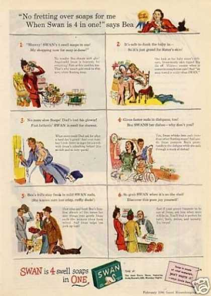 "Swan Soap Ad ""No Fretting Over... (1946)"