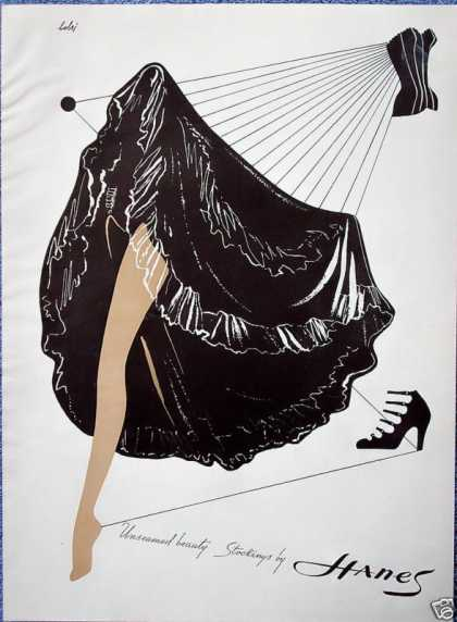 Hanes Stockings Black Can-Can Skirt Unseamed Bobri (1948)