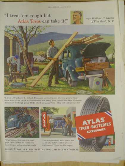 Atlas Tires and Batteries. Atlas can take it. William Decker Pine Bush NY (1952)