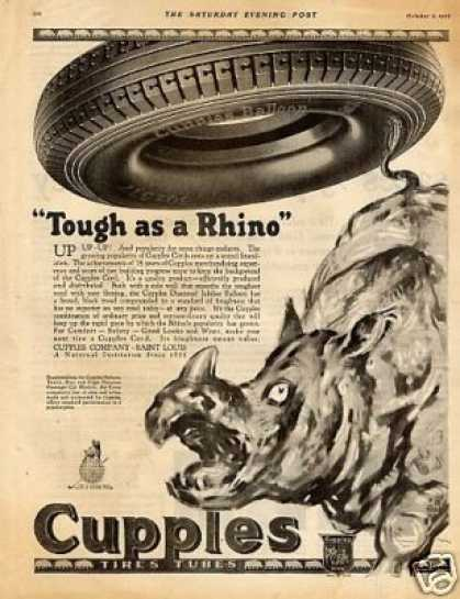 "Cupples Tire Ad ""Tough As a Rhino"" (1926)"