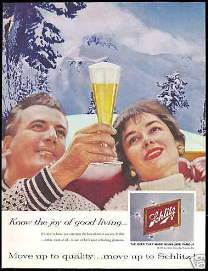 Schlitz Beer Snow Mountains Photo Vintage (1959)