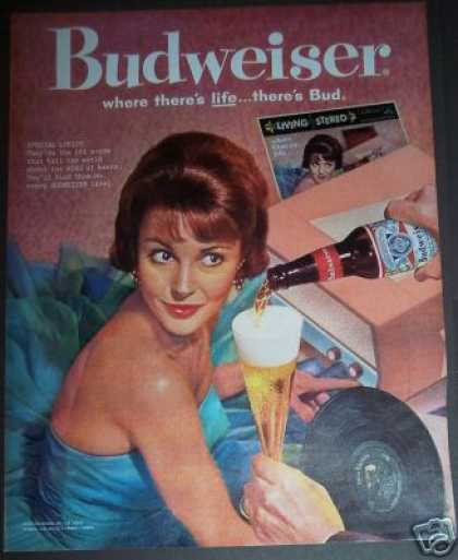 Retro Pink Record Player Budweiser Beer Bar Art (1962)