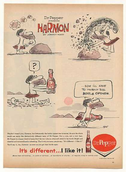 Dr Pepper Harmon Rock Bottle Johnny Hart Comic (1962)