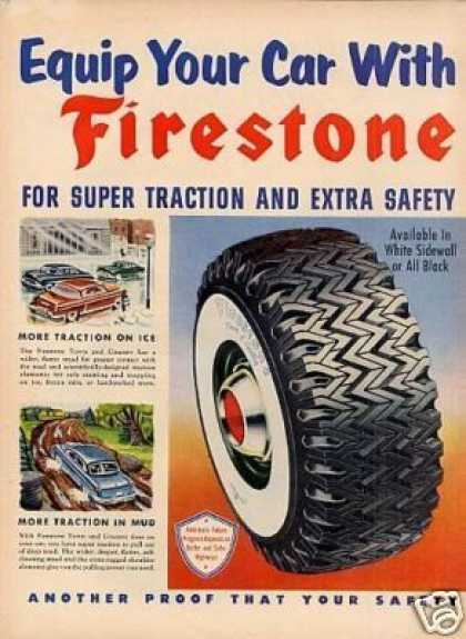 Firestone Tire Ad 2 Page (1954)