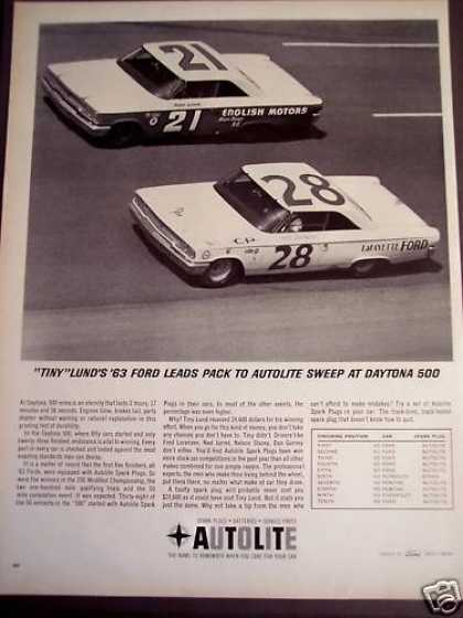 Autolite Spark Plugs at Daytona 500 Tiny Lund (1963)