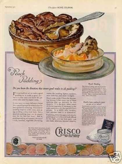 Crisco Shortening Color Ad Peach Pudding (1921)