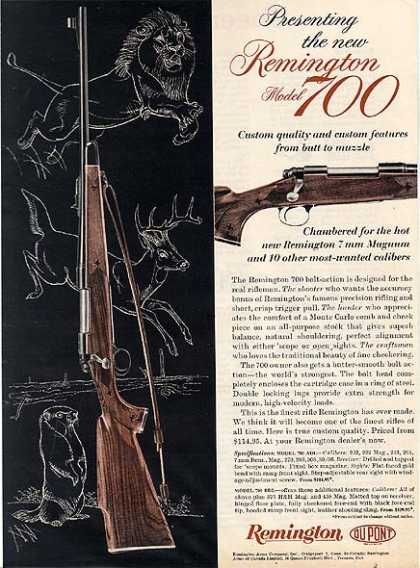 Remington's Model 700 Bolt Action Rifles (1962)