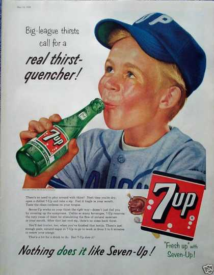 7 Up Little Boy Baseball Player Big League Thirst (1956)