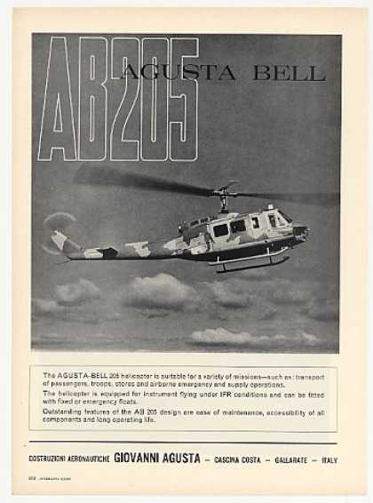 Agusta Bell AB205 AB 205 Helicopter Photo (1969)