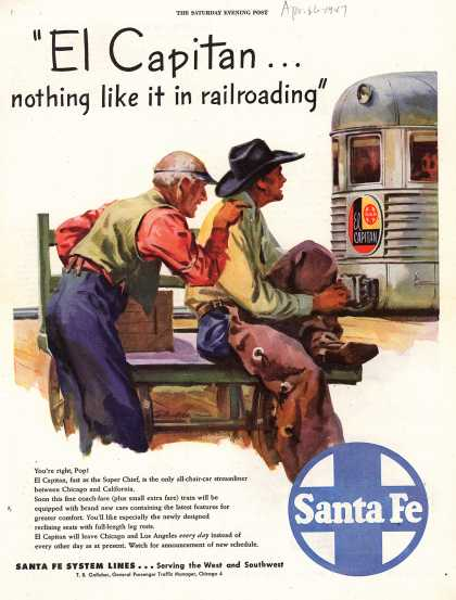 "Santa Fe System Lines – ""El Capitan... nothing like it in railroading"" (1947)"